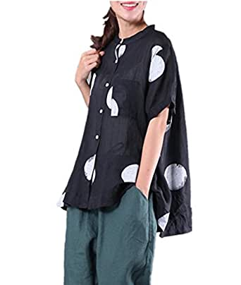 Yesno QR5 Women Shirts Blouse Crop Tops Polka Dots Mandarin Collar A Skirt 100% Linen Hi-Low Hem /Breast Pocket (One Size (M-L), Black)