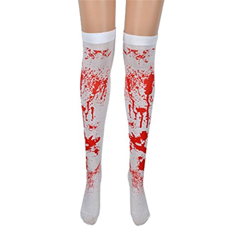 Befox Blood Stained White Stockings Halloween Fancy Dress/Halloween Nurse Costume Accessory/Roleplay