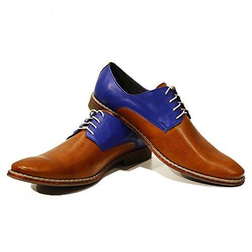 Modello Flavio - Handmade Italiennes Cuir Pour Des Hommes Brun Chaussures Oxfords - Cuir de vachette Cuir souple - Lacer