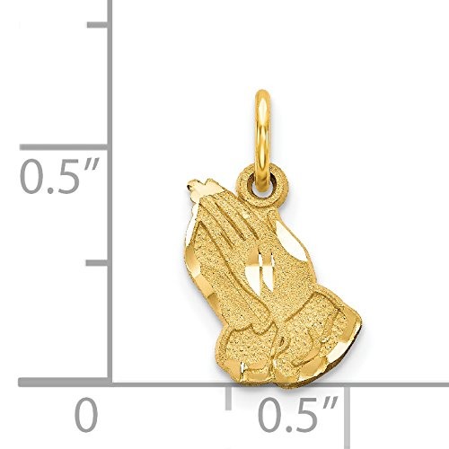 14k Yellow Gold Praying hand Charm 0.7IN long x 0.4IN wide