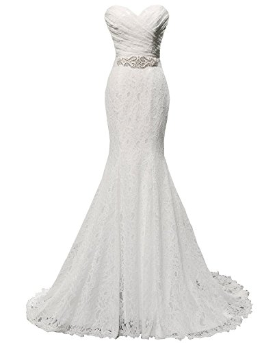 Wedding Sweetheart White Fanciest Kleid Beaded Meerjungfrau Kleides Women's e Spitzen Wei Bridal wTqfx5Iq