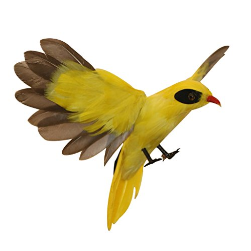 Jili Online 15 Types Lifelike Artificial Bird Feathered Birds Taxidermy Yard Garden Lawn Decor Vivid Animals - Oriole Flying, as described