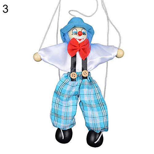 HsgbvictS Toys for All Ages Kids Pull String Clown Puppet Wooden Marionette Handcraft Toy Joint Move Doll Colorful, Pull String Design, Kids Toy - Blue