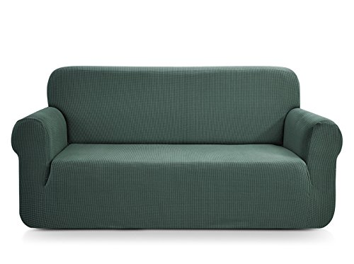 CHUN YI 1-Piece Jacquard Stretch Loveseat Slipcover, Furniture Protector for Sofa and Couch Polyester and Spandex 2 Seater Cushion Settee Cover Coat (Loveseat, Dark Cyan) (Standard Loveseat Length)
