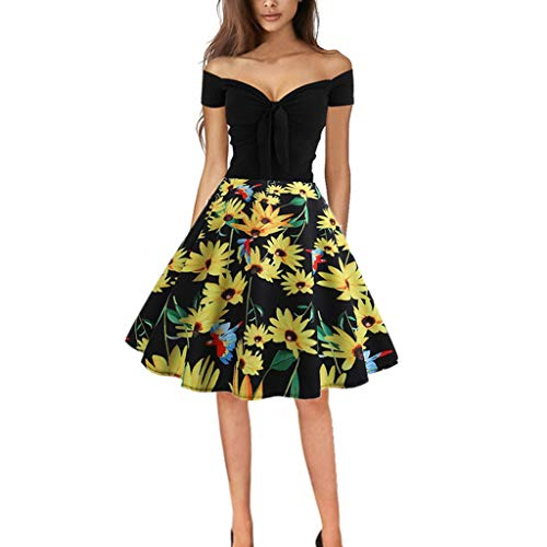 WOCACHI Dresses for Womens, Women Vintage 1950s Retro Off Shoulder Printing Evening Party Prom Swing Dress Mini Maxi Midi Swing Pleated Tank Dress Off Shoulder Floral Solid Skirt Sequin
