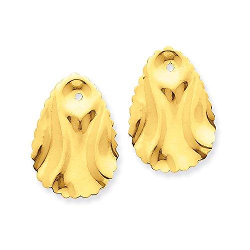 - 14k Polished Hammered Oval Earring Jackets
