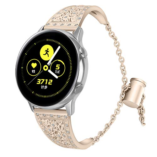 for Samsung Galaxy Watch Active, Hollowed-Out Diamond-Studded Solid Stainless Steel Watch Band with Push-Button Chain Lock (Gold)