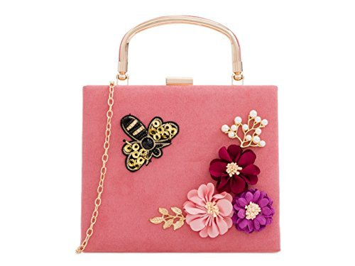 Hard Faux Floral Womens Clutch Bags Case Ladies Blush Hand Dressy Detail Top Handle Pearl Suede Party L33 Vintage q5qBz