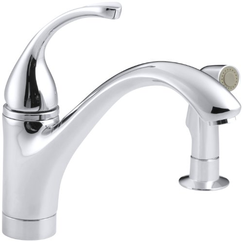 KOHLER K-10416-CP Forte Single Control Kitchen Sink Faucet with Sidespray and Lever Handle, Polished Chrome -