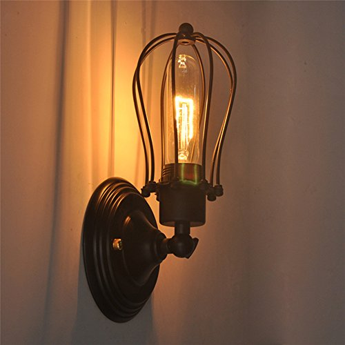 Coquimbo wire cage wall sconce vintage style industrial black mini cage wall light shade with 180 adjustable head for kitchen living room and bedroome26