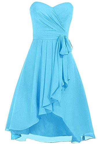 Robes De Demoiselle D'honneur Cdress Courte En Mousseline De Soie Haut Bas Robes Formelles De Soirée Robe De Bal Bleu