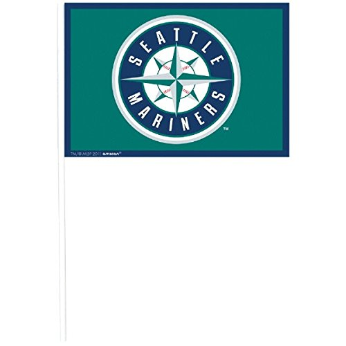 Sports and Tailgating MLB Party Seattle Mariners Flag Decorations, Plastic, 4