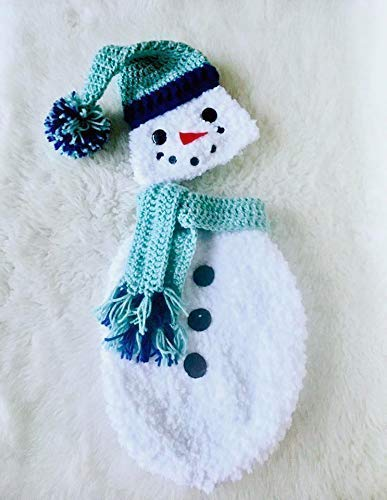 Frosty The Snowman Costume, Cocoon Hat and Scarf 3 Piece Gift Set, White And Blue
