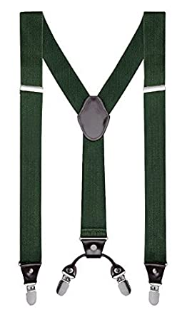 "Buyless Fashion Mens 48'' Elastic Adjustable 1 1/4"" Suspenders In Y Shape 5103-Black"