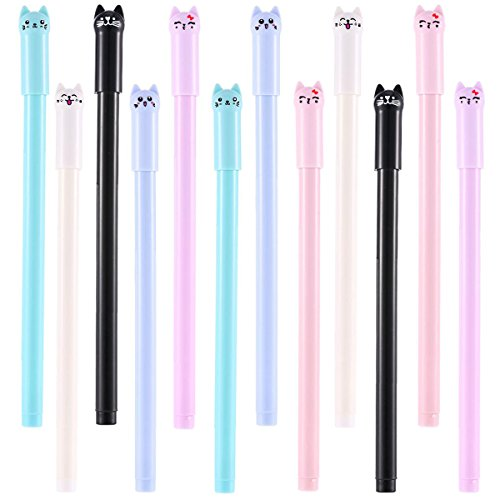 12 Pieces Cute Cat Pen 0.5 mm Gel Pens Black Ball Point Pens for School Office Supplies