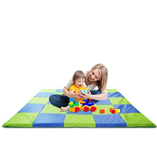 Memory Foam Soft Cushioned Patchwork Baby and Toddler Activity Play Mat ()