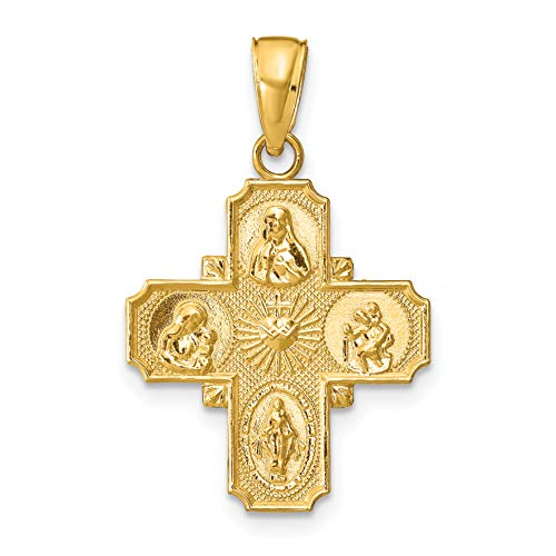 14k Yellow Gold Solid Polished Four Way Cross Pendant 29x19mm (Yellow Gold Catholic Medals)
