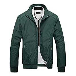 Men's Casual Solid Pocketed Stand Collar Zipper Jacket Trench Coat