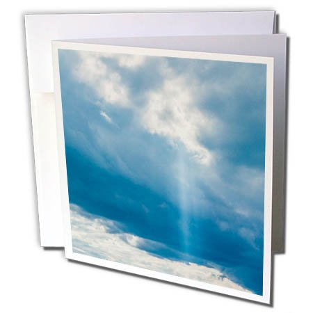 3dRose Alexis Photography - Nature Sky - Cloudy sky and a vertical ray of sunshine. Blue and white colors - 6 Greeting Cards with envelopes (gc_271919_1)