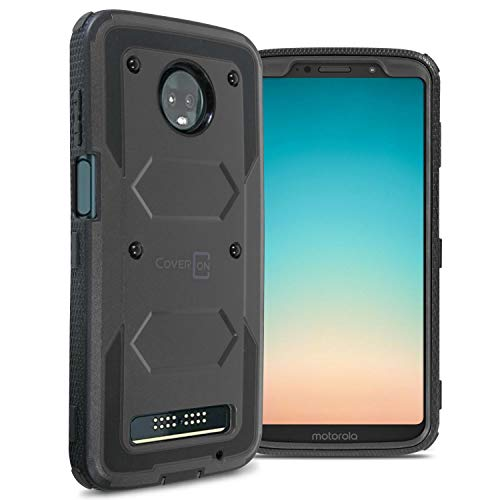 CoverON [Tank Series] Moto Z3 Case, Moto Z3 Play Case, Protective Full Body Phone Cover with Tough Faceplate for Motorola Moto Z3 / Moto Z3 Play - Black