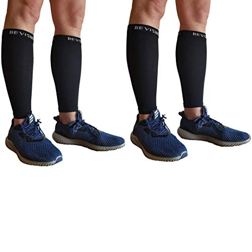 BeVisible Sports Calf Compression Sleeve - Shin Splint Leg Compression Socks for Men and Women | Calf Sleeves for Running Cycling Travel & Recovery (2 Pairs Black Calf Sleeves, Small-Medium)