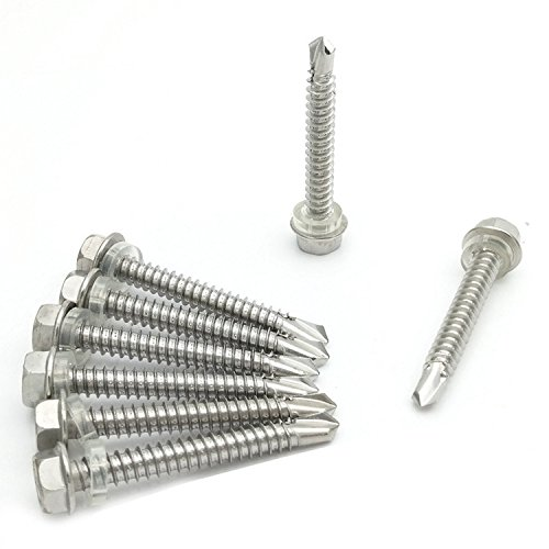 Stainless #12 Hex Washer Head Self Drilling Sheet Metal Tek Screws With Drill Point(1/2'' To 2-1/2'' Lengths),20 Pieces (#12 x 5'' (M5.5x125mm)) by HH FASTENERS