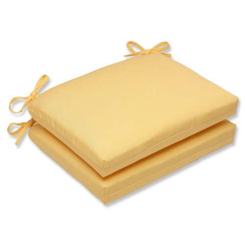 Pillow Perfect Indoor/Outdoor Squared Corners Seat Cushion with Sunbrella Canvas Buttercup Fabric, Set of 2, 18.5 in. L X 16 in. W X 3 in. D, Yellow
