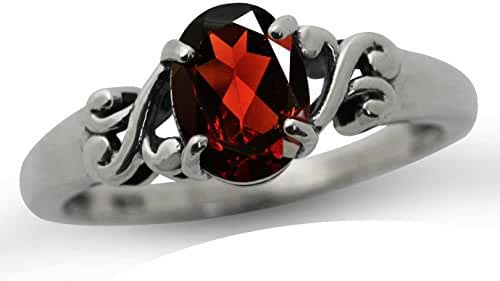 1.34ct. Natural Garnet 925 Sterling Silver Victorian Style Solitaire Ring