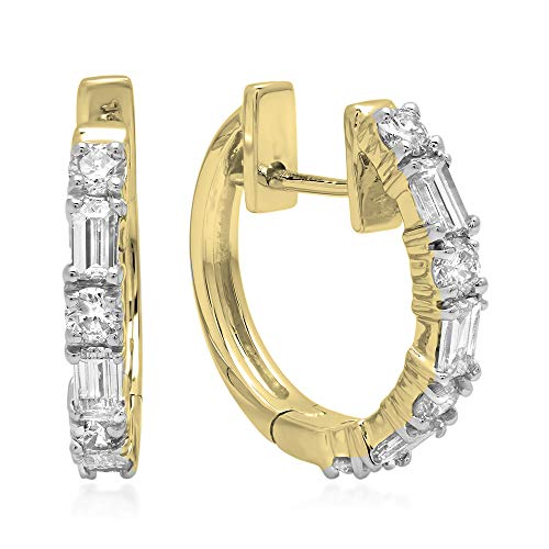 Dazzlingrock Collection 0.45 Carat (ctw) 10K Round & Baguette White Diamond Ladies Huggies Hoop Earrings 1/2 CT, Yellow Gold