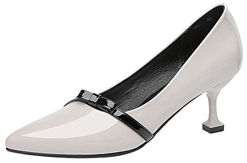 Solid Snake Costume For Sale - Passionow Women's Trendy Shallow Pointed Toe Slip-on Patent Leather Kitten Heel Pumps Shoes (7.5 B(M)US,White)