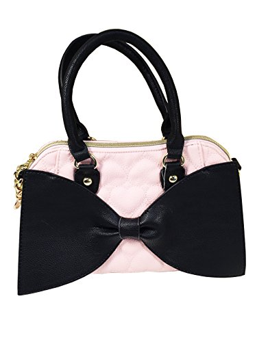 Betsey Johnson Medium Bow Satchel Handbag Purse (blush/black Bow)