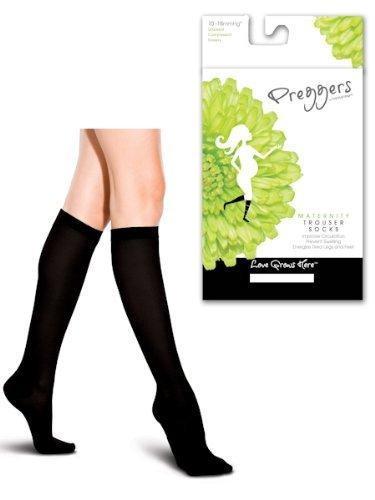 Preggers Nylon Ribbed Maternity Trouser Support Socks (Black, Small)