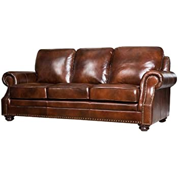 Abbyson Living Karington Hand Rubbed Leather Sofa