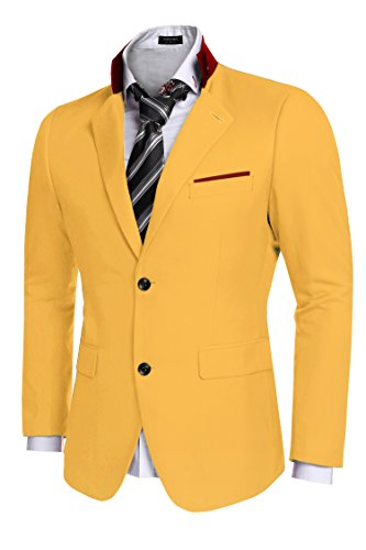 Coofandy Men's Casual Dress Suit Slim Fit Stylish Blazer Coats Jackets, Size XX-Large, Yellow by COOFANDY