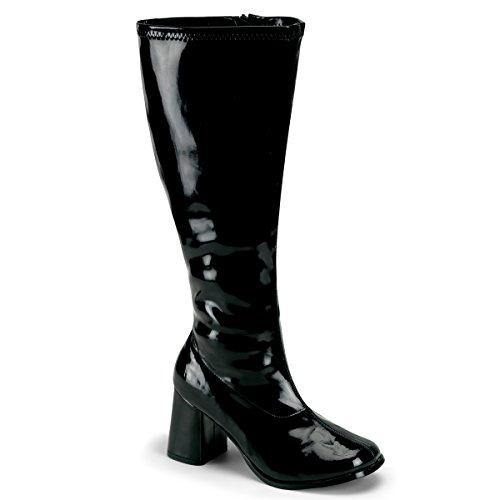 Pleaser Women's Gogo-300x/b, Black Stripe Patent, 8 W US