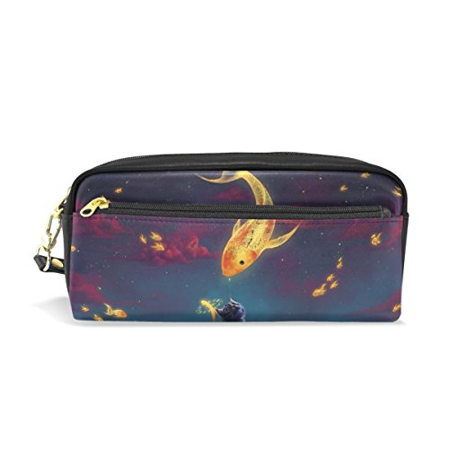 Jennifer Portable Pouch Clock Golden Fish Cat PU Leather School Pen Case Stationary Pencil Bags Water Proof Cosmetic Bag Makeup Beauty (Jennifer Clock)