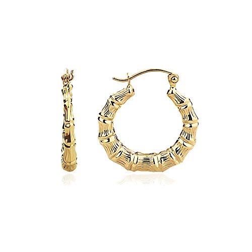 14K Yellow Gold 3mm Hollow Plain Gold Bamboo Hoop Earrings