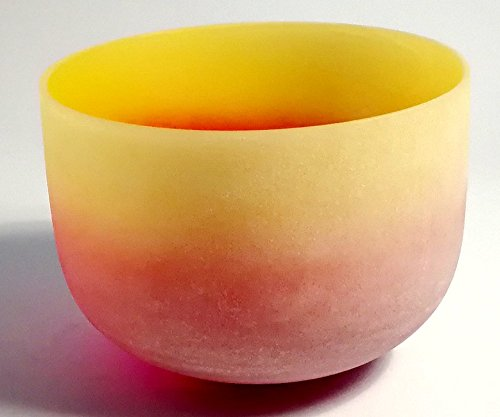 Ego O-ring (CVNC Rainbow Colored E Note Solar Plexus Chakra Frosted Quartz Crystal Singing Bowl 10 Inch + Free mallet & O-ring)
