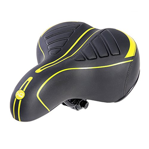 UNISTRENGH Oversized Comfort Bike Seat Most Comfortable Replacement Bicycle Saddle Universal Fit for Exercise Bike and Outdoor Bikes, Wide Soft Padded Bike Saddle for Women and Men (Yellow/Black)