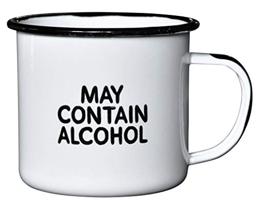 MAY CONTAIN ALCOHOL | EnamelCoffee Mug | Sarcastic Gift for Vodka, Gin, Bourbon, Wine and Beer Lovers | Great Office or Camping Cup for Dads, Moms, Campers, Tailgaters, Drinkers, and Travelers