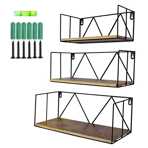 Floating Wall Shelves Set of 3, Black Metal Wire Hanging Rustic Storage Shelf Decor Organizer for Bedroom Bedside Kitchen Bathroom Living Room (Cube Shelves To Hang On The Wall)