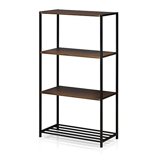 Furinno FM6011R-4DW Modern Lifestyle 4-Tier Storage Shelves, Dark Walnut For Sale