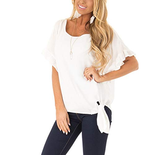 Women's O-Neck Ruffle Sleeve Large Size Casual Fashion T-Shirt Solid Color Loose Patchwork Tie Top - Imported Casual
