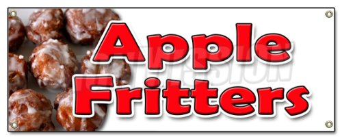 (Apple FRITTERS Banner Sign Baker Sweets Pastries Bakery Apple Cakes Fried Fruit)