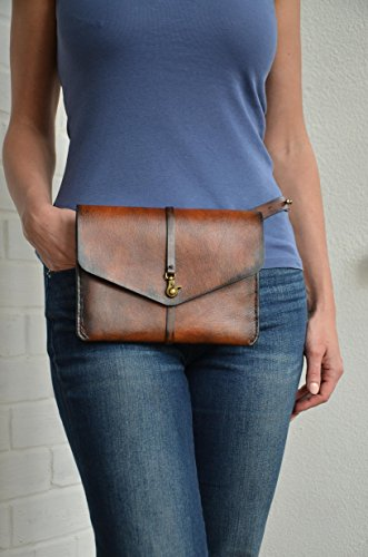 Leather fanny pack - Small crossbody bag - Travel document holder - Travel pouch - Leather clutch purse by LaLaBelt