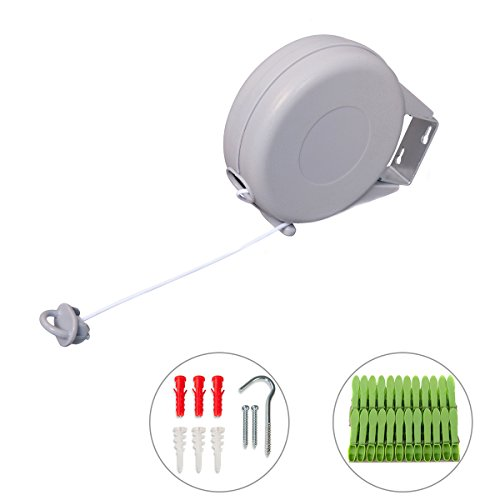 China Wall Brush - Drynatural Retractable Clothesline Indoor/Outdoor Wall Mounted Clothes Dryer with Adjustable Rope String 49ft Long Single Washing Line