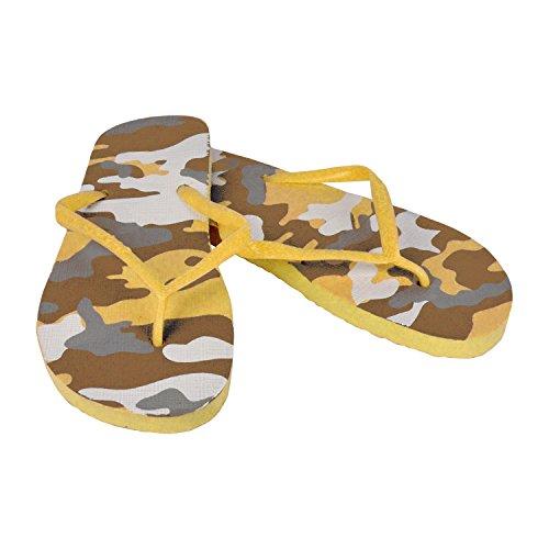 2073 Tongs pour homme fantaisie militaire - 3 couleurs - Plage - Jaune, 43