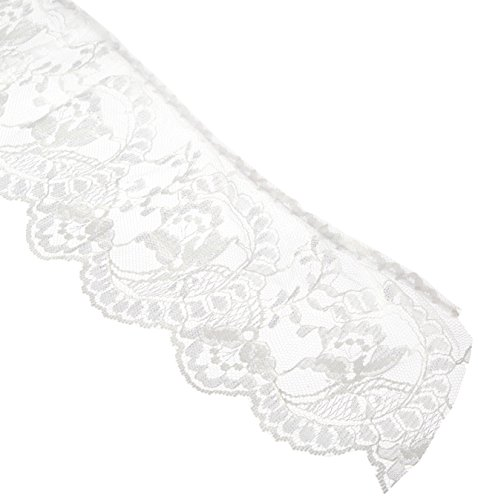 Wrights 3-7/8-Inch Wide Flower Cameo Lace, 12-Yard, White
