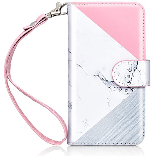 Ipod Touch Case Holder - Dailylux iPod Touch 6 Case,iPod Touch 5 Case,iPod Touch 5/6th Wallet Case Giltter PU Leather Stand Magnetic Clasp Card Holders Slot Shockproof Flip Cover for iPod 5/6th Gen-Rose Gold Marble