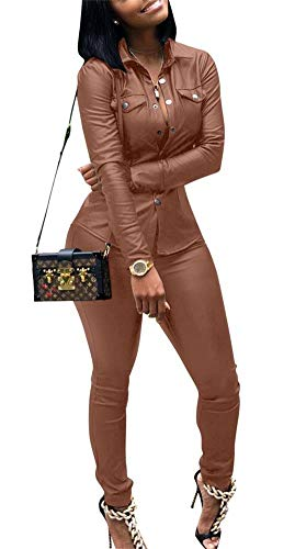 (Yootiko Women Sexy 2 Piece Outfits Botton Long Sleeve Leather Jacket + Bodycon Pencil Pants Sweatsuits Tracksuits Black XXXL)